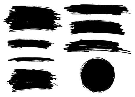 Vector black paint brush spots, highlighter lines. Ink smudge abstract shape stains and smear set with texture Vektorgrafik