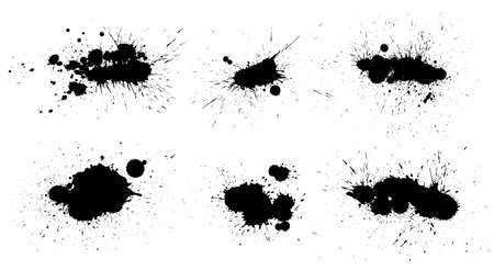 Collection of Ink splashes isolated on white background