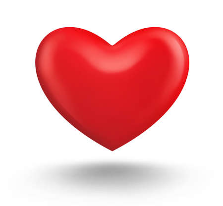 Big beautiful red heart with glares on white background