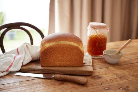 Homemade toaster sourdough bread with citrusy peel fruit jam Reklamní fotografie