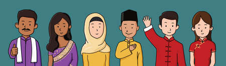 Portrait of mix races men and women in Malaysia