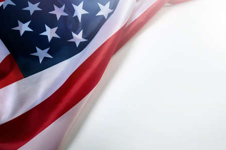 Close up of American flag on white blank space for text. Standard-Bild
