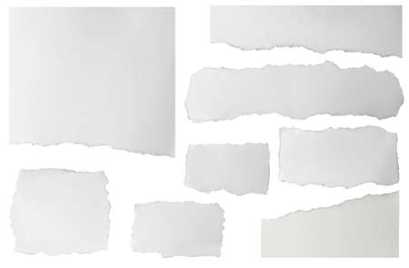 Set of elongated torn paper fragments isolated on white background Standard-Bild