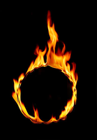 Ring of fire frame over black background