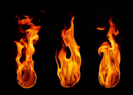 Fire flames on a black background Standard-Bild