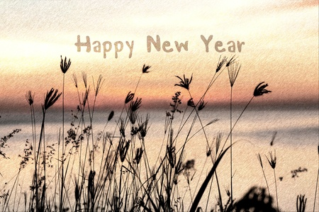 grassy: sketch of happy new year greeting card with silhouette grassy sunrise background Stock Photo