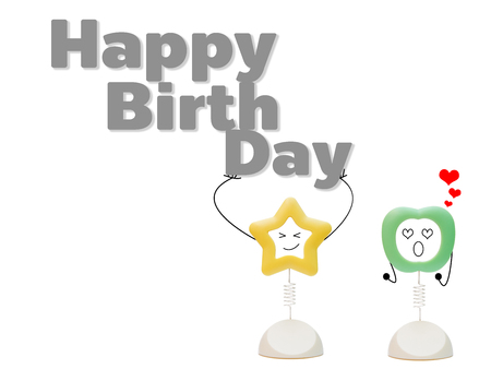 birth day: Abstract picture frame star bear the word Happy birth day and apple support to cheer