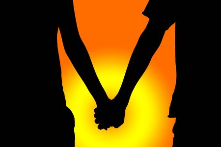 clasp: Happy Valentines Day, silhouette couple hold hand at twilight sunset sky time.