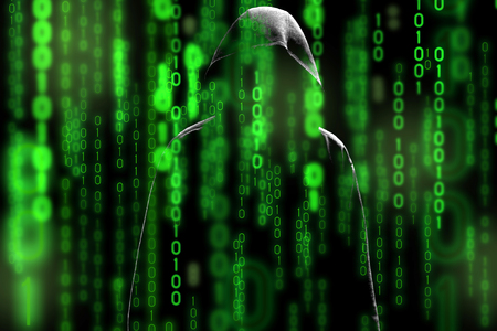hijack: Computer hacker silhouette of hooded man with binary data screen and network security terms in the matrix theme
