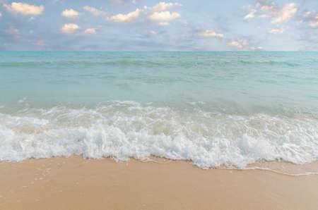 white sand beach: White sand beach and blue sky. Stock Photo