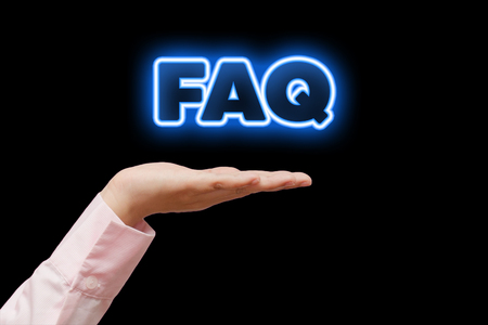 faq's: Diverse Hands Holding FAQs, blue neon light word.