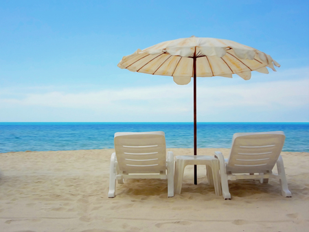 idling: Art Water color painting of Beach chairs on the white sand beach with cloudy blue sky