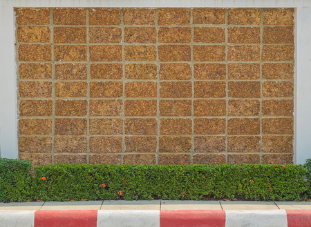 castle conditioning: Laterite Brick wall texture. Antique Laterite brick wall that have the grass and red flower on footpath with copy space