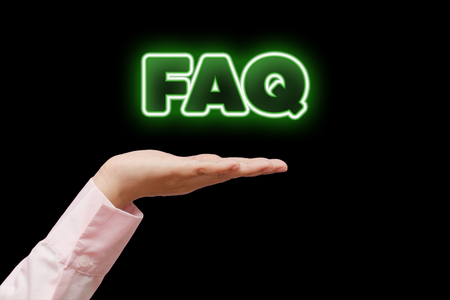 single word: Diverse Hands Holding FAQs, green neon light word.