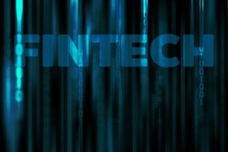 Financial Technology in data binary code matrix background (FINTECH Concept) Stock fotó