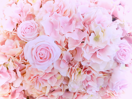 Dreamy concept of pink and violet flower bouquets , bunch of flowers background for valentine or wedding concept