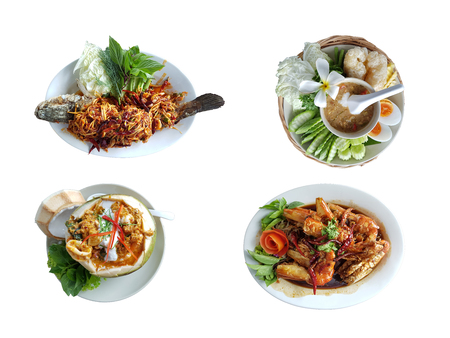 Collection of traditional Thai food by homemade with clipping path isolated on white background. Stock Photo