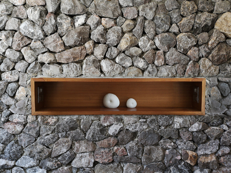Stone wall texture or the unshaped Brick wall with wooden shelf inside.