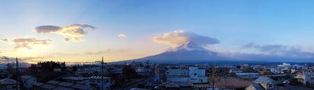 KAWAGUCHIKO, YAMANASHI JAPAN - DECEMBER 3, 2017: Panorama of Fuji mountain and Kawaguchiko town with sunrise, Autumn seasons Fuji mountain at yamanachi in Japan.