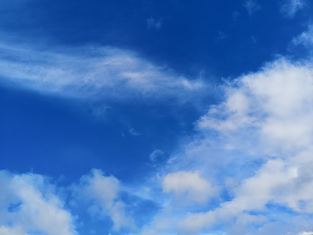 Big white fluffy clouds in the blue sky.Summer background.