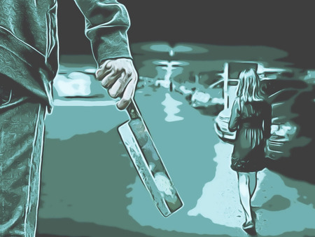 Male stalks a young woman in an underground car park in a paint sketch style concept of  two tone color (Green Black color)
