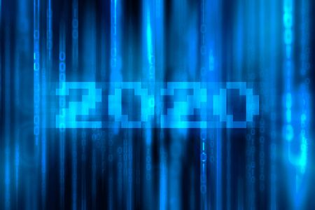 Numeric 2020 with Falling Random Numbers. Blue Matrix Background. Stream of Decimal Digits (Happy New Year 2020 concept)