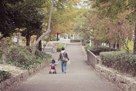 Dad walks with her daughter in the public park. Father and child are walking along the alley in the park holding hands. View from the back. Father's Day