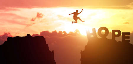 Silhouette man people jumping from cliff to other mountain with hope, concept as possible and impossible of success in business and leadership. Copy space for label text and banner for advertisement