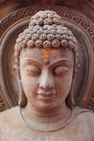 buddha face: Buddha image in Thai style rock engraving