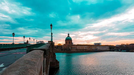 Twilight hour at tge garonne river in Toulouse, France.