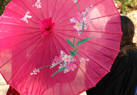 A pink japanese style umbrella protects tow young women from sun