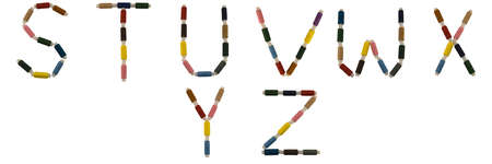 Isolated Font English or Latin alphabet S-Z made of colorful spools of thread for sewing