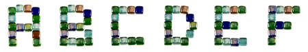Isolated Font English or Latin alphabet A-F made of glass decorative squares