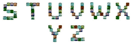 Isolated Font English or Latin alphabet S-Z made of glass decorative squares