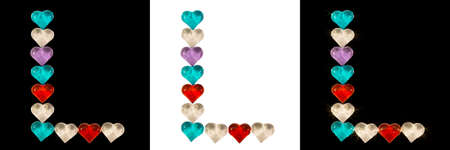 Isolated Font English or Latin Letter L made of colorful glass hearts on white and black backgrounds and with sparkles