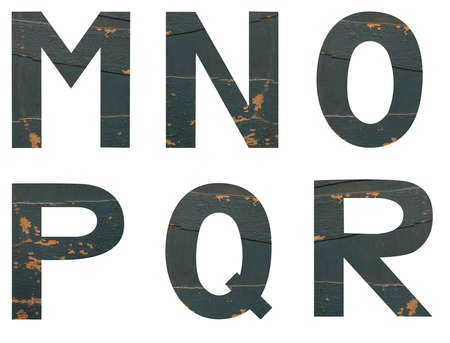 Isolated set of Font English or Latin Letters MNOPQR made of old peeling paint wooden board with cracks on white background