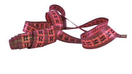 Isolated measuring pink leather tape on a white background Banque d'images
