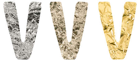 Isolated Font English or Latin Letter V made of crumpled titanium, silver, gold foil on a white background
