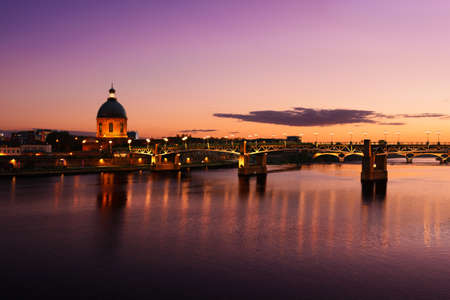 morning blue hour: Purple sunset at Toulouse city