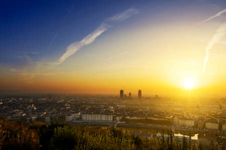new day: A new day begin at Lyon city, France Stock Photo