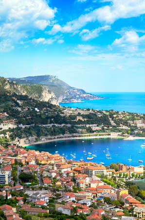 villefranche sur mer: Saint Jean Cap Ferrat, city and mountains, Cote dAzur, France