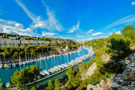 france: Arbor of Port Miou city at Cassis, France Stock Photo