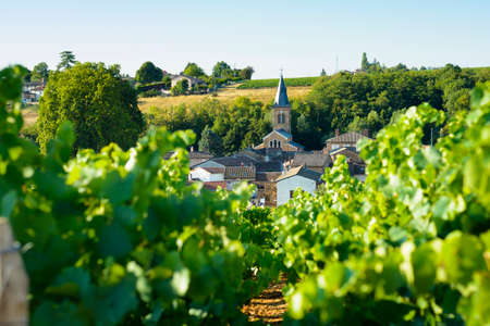 raod: Saint Julien village and raod in Beaujolais land, France Stock Photo