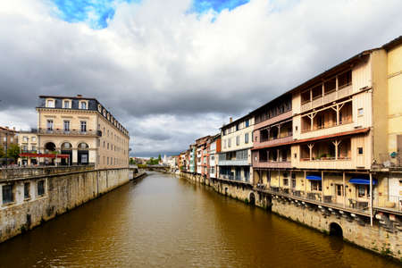 Castres city and homes along the Agout river, France Stock Photo