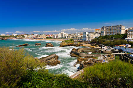 City and coast of Biarritz, France
