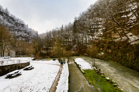 Snowed landscape and river, Doubs, France Stock Photo