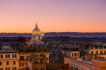 morning blue hour: Rooftop at dawn, city Roma, Italy Stock Photo