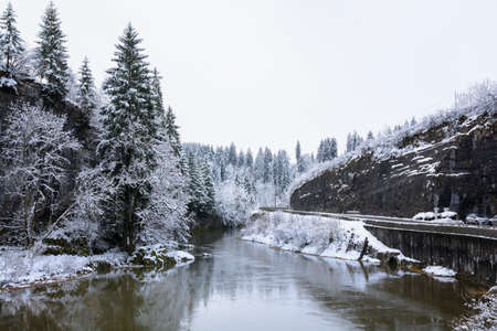snowed: Snowed landscape and river, Doubs, France Stock Photo