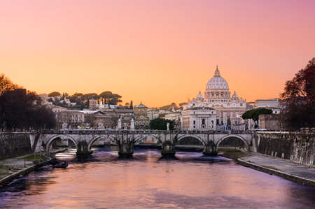 morning blue hour: Sunset at St. Peter basilica at Rome city, Italy
