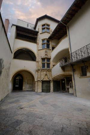 courtyard: Courtyard in Vieux Lyon, Lyon, France Stock Photo